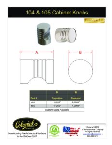 thumbnail of Colonial Bronze PROD 104_105 Knobs Specifications