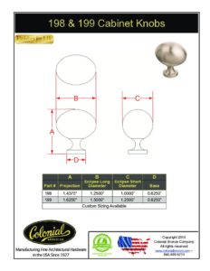 thumbnail of Colonial Bronze PROD 198_199 Knobs Specifications