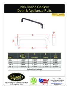 thumbnail of Colonial Bronze PROD 206 Series Pulls Specifications