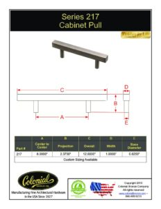 thumbnail of Colonial Bronze PROD 217 Series Pull Specifications