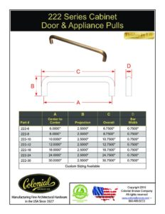 thumbnail of Colonial Bronze PROD 222 Series Pulls Specifications