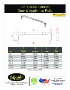 thumbnail of Colonial Bronze PROD 232 Series Pulls Specifications