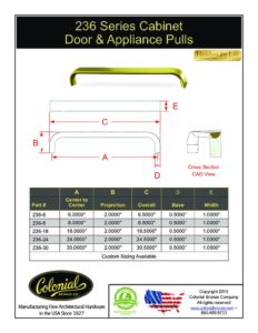 thumbnail of Colonial Bronze PROD 236 Series Pulls Specifications