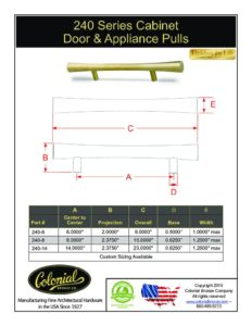 thumbnail of Colonial Bronze PROD 240 Series Pulls Specifications