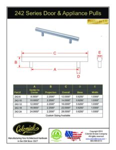 thumbnail of Colonial Bronze PROD 242 Series Pulls Specifications