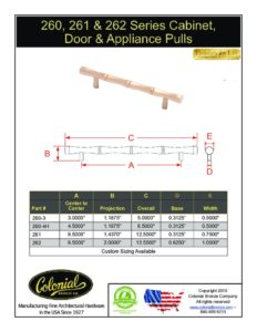 thumbnail of Colonial Bronze PROD 260_261_262 Series Pulls Specifications
