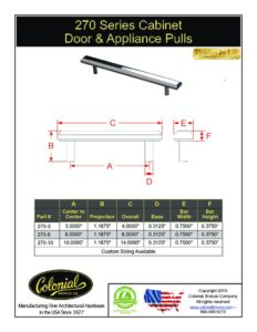 thumbnail of Colonial Bronze PROD 270 Series Pulls Specifications