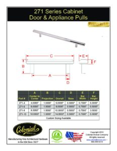 thumbnail of Colonial Bronze PROD 271 Series Pulls Specifications