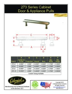 thumbnail of Colonial Bronze PROD 273 Series Pulls Specifications