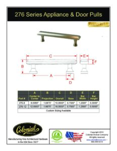 thumbnail of Colonial Bronze PROD 276 Series Pulls Specifications