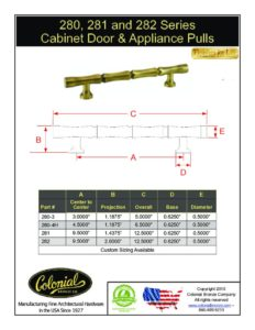 thumbnail of Colonial Bronze PROD 280_281_282 Series Pulls Specifications