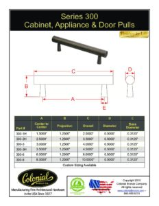 thumbnail of Colonial Bronze PROD 300 Series Pull Specifications