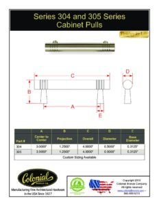 thumbnail of Colonial Bronze PROD 304_305 Series Pull Specifications
