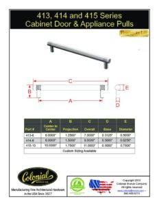 thumbnail of Colonial Bronze PROD 413_414_415 Series Pulls Specifications
