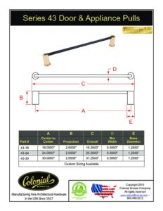 thumbnail of Colonial Bronze PROD 43 Door_Appliance Pull Specifications