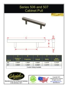 thumbnail of Colonial Bronze PROD 506_507 Series Pull Specifications