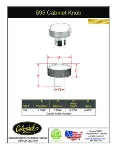 thumbnail of Colonial Bronze PROD 595 Knob Specifications