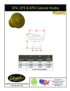 thumbnail of Colonial Bronze PROD 674_675_676 Knobs Specifications