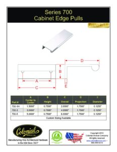 thumbnail of Colonial Bronze PROD 700 Series Pull Specifications