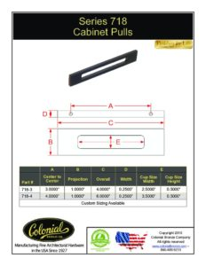 thumbnail of Colonial Bronze PROD 718 Series Pull Specifications