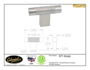 thumbnail of Colonial Bronze Prod 571 Knob Specifications