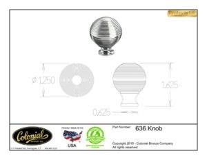 thumbnail of Colonial Bronze Prod 636 Knob Specifications