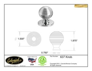 thumbnail of Colonial Bronze Prod 637 Knob Specifications