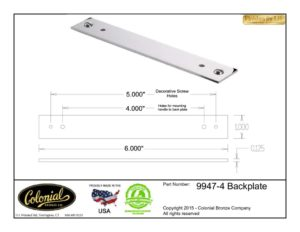 thumbnail of Colonial Bronze Prod 9947-4 Backplate Specifications