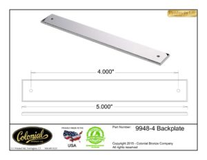 thumbnail of Colonial Bronze Prod 9948-4 Backplate Specifications