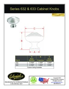 thumbnail of Colonial Bronze PROD 632_633 Knobs Specifications