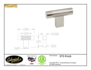thumbnail of Colonial Bronze Prod 570 Knob Specifications