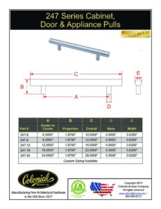 thumbnail of Colonial Bronze PROD 247 Series Pulls Specifications