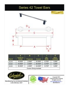 thumbnail of Colonial Bronze PROD 42 Towel Bar Specifications