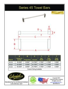 thumbnail of Colonial Bronze PROD 45 Towel Bar Specifications