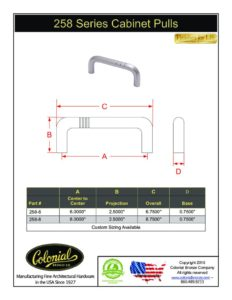 thumbnail of Colonial Bronze PROD 258 Series Pulls Specifications