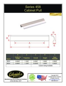 thumbnail of Colonial Bronze PROD 458 Series Pull Specifications
