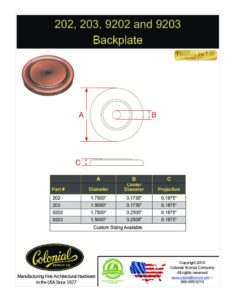 thumbnail of Colonial Bronze PROD 202_203_9202_9203 Backplate Specifications