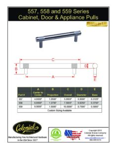thumbnail of Colonial Bronze PROD 557_558_559 Series Pulls Specifications