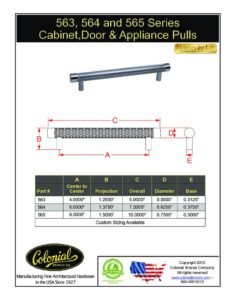 thumbnail of Colonial Bronze PROD 563_564_565 Series Pulls Specifications