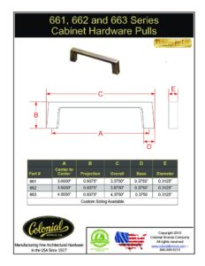 thumbnail of Colonial Bronze PROD 661 Series Pulls Specifications