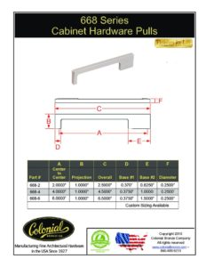 thumbnail of Colonial Bronze PROD 668 Series Pulls Specifications