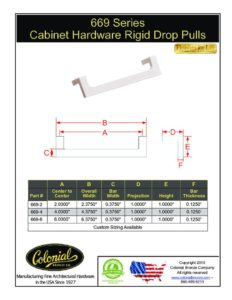 thumbnail of Colonial Bronze PROD 669 Series Pulls Specifications