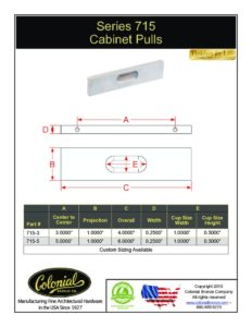 thumbnail of Colonial Bronze PROD 715 Series Pull Specifications