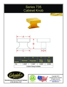 thumbnail of Colonial Bronze PROD 735 Knob Specifications
