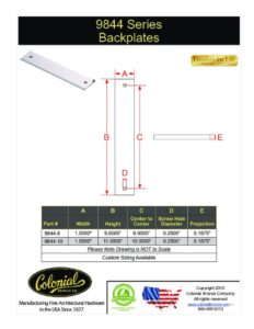 thumbnail of Colonial Bronze PROD 9844 Backplate Specifications