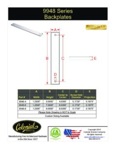 thumbnail of Colonial Bronze PROD 9948 Backplate Specifications