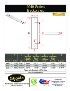 thumbnail of Colonial Bronze PROD 9949 Backplate Specifications