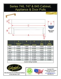 thumbnail of Colonial Bronze Prod 746_747_845 Pulls Specifications