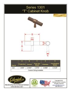 thumbnail of Colonial Bronze PROD 1301 Knob Specifications