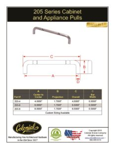 thumbnail of Colonial Bronze PROD 205 Series Pulls Specifications